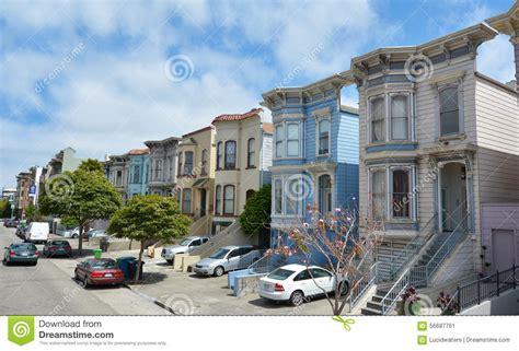 Row Of Victorian Italianate Houses In San Francisco