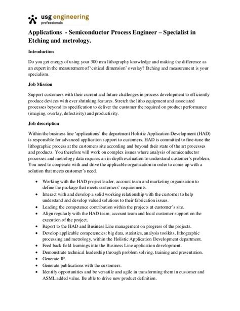 resume for semiconductor process engineer applications process engineer etching and metrology01
