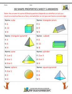 3D Shapes Worksheets 3rd Grade