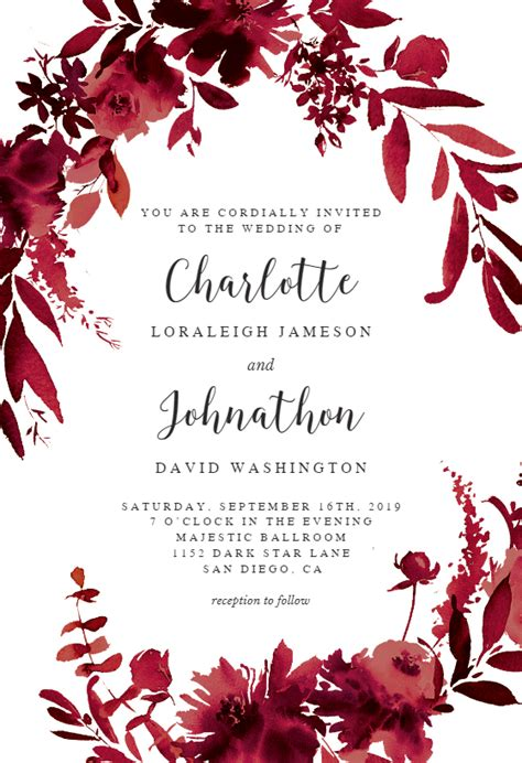 Indigo Flowers Wedding Invitation Template (free Free