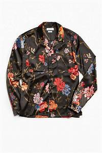 Designer Flannel Shirts Men Lyst Urban Outfitters Uo Floral Satin Button Down Shirt