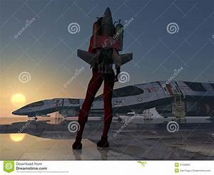 Rocket Girl Jet Pack From Behind At Space Station Stock ...