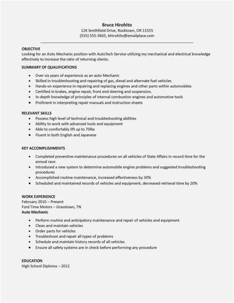 Mechanic Resume by Cv Exles For Mechanic Resume Template