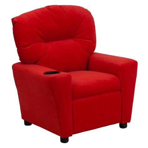 flash contemporary microfiber recliner with cup