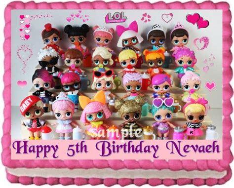 Lol Dolls Cake Topper Edible Birthday Party Decoration