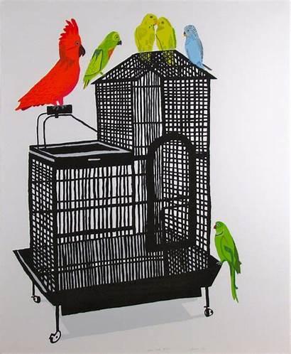 Jonas Wood Cage Bird Xviii Artist Birds