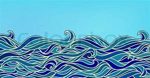 Abstract Waves Background  Vector Blue Colorful Hand