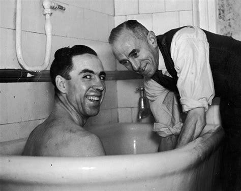 corbett wing wonderful retro photos of footballers in the bath