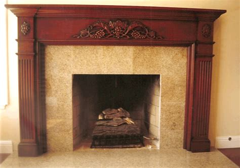 Interior Dark Wood Fireplace Mantels With Tile Fireplace