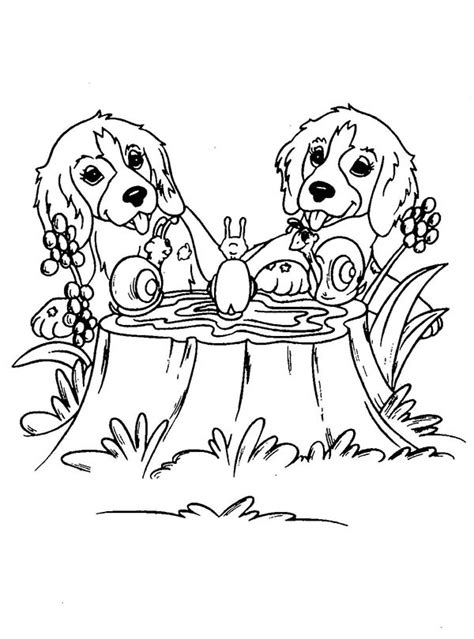 twin dog playing  snails coloring page color luna