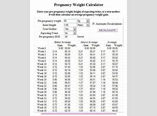 weight gain chart pregnancy