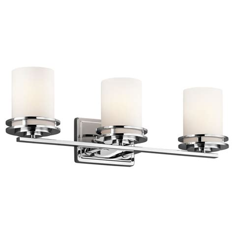 replacement glass shades for bathroom light fixtures kichler 5078ch chrome hendrik 3 light 24 quot wide vanity