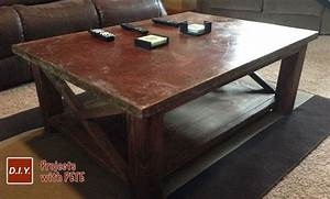 how to make a concrete coffee table with a trowel finish With how to stain a coffee table