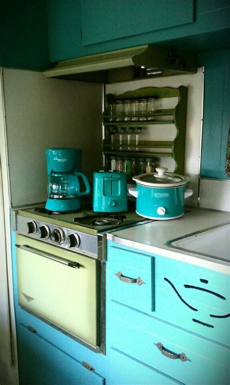 Vintage retro camper kitchen, teal, turquoise, avocado