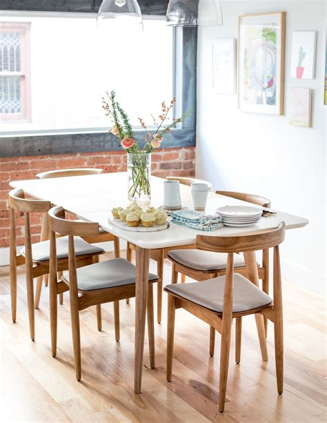 mid century modern dining table  chairs flax twine