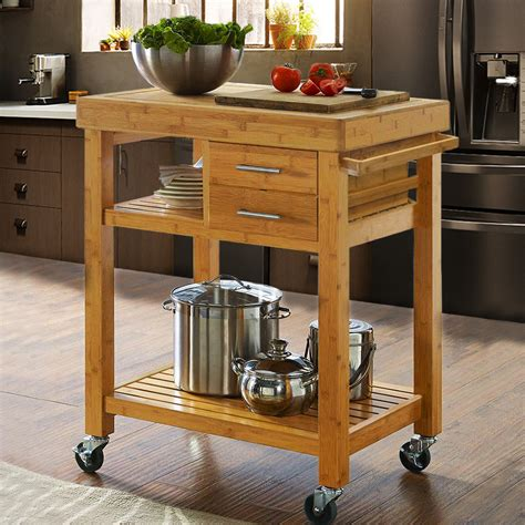 Rolling Bamboo Kitchen Island Cart Trolley, Cabinet W