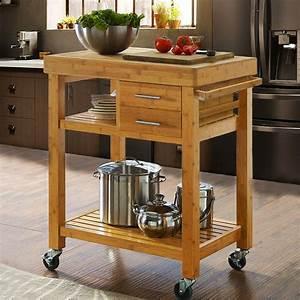 Rolling, Bamboo, Wood, Kitchen, Island, Cart, Trolley, W, Towel, Rack, Drawer, Shelves