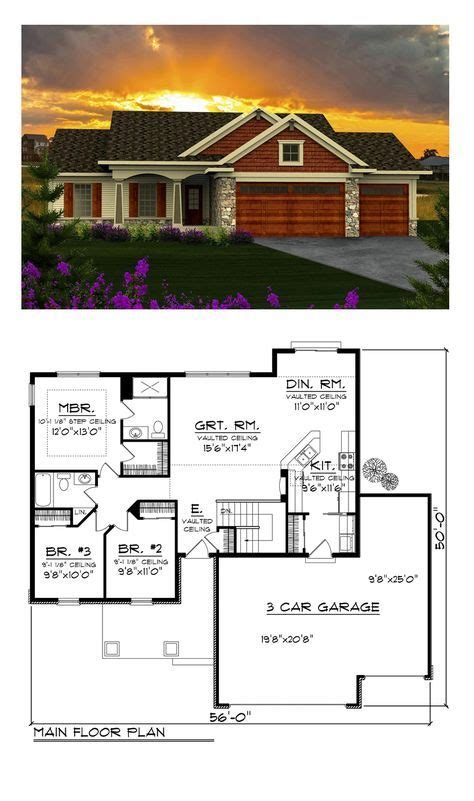 Ranch Style House Plan 96120 with 3 Bed 2 Bath 3 Car