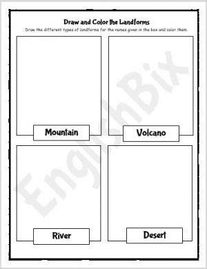 earths landforms drawing worksheets   grade