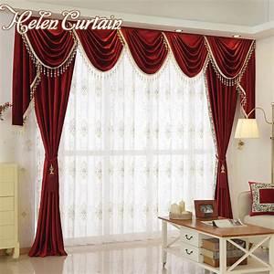 Aliexpresscom buy helen curtain set luxury velvet red for Red velvet curtains living room