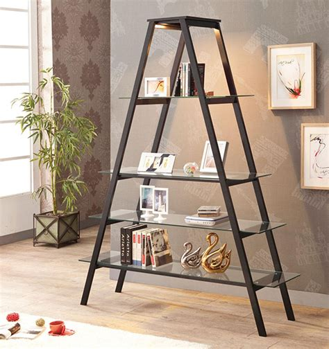 Tempered Glass Shelves Aframe Stand Open Ladder Bookcase