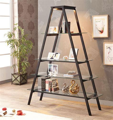Tempered Glass Shelves Aframe Stand Open Ladder Bookcase