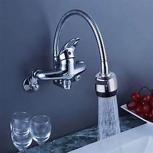 Robinet De Cuisine : robinet de cuisine mural avec bec verseur flexible ~ Melissatoandfro.com Idées de Décoration