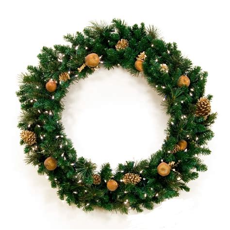 gold christmas wreath with lights xmaspin
