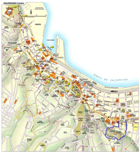 valparaiso tourist map valparaiso chile mappery