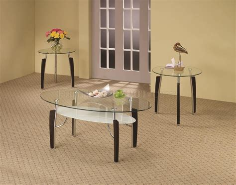 Clear Glass Top Modern 3pc Coffee Table Set W/shelf