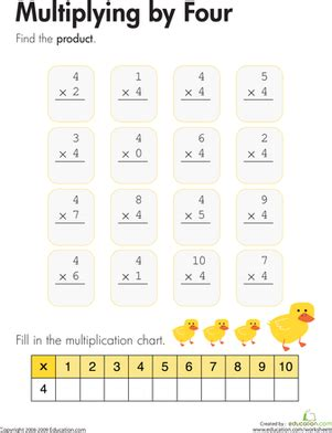 multiplying by four worksheet education