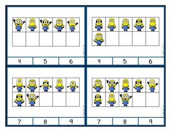 minion ten frame counting  addition clip cards