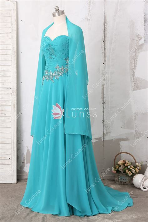 aqua strapless sweetheart neck   long chiffon