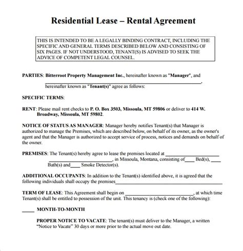 simple rental agreement templates
