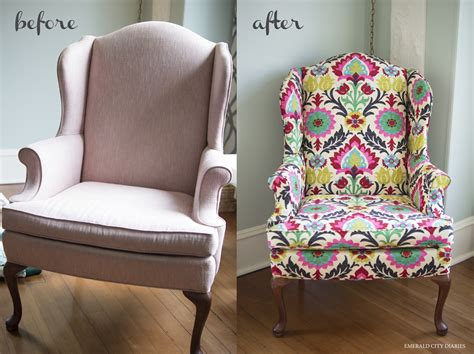 Upholstery Of A Chair by Diy Upholstered Wingback Chair Emerald City Diaries