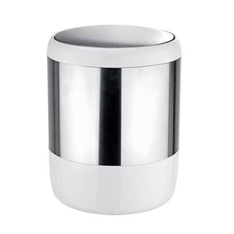 poubelle de salle de bain inox et blanc accessoires salle de bain