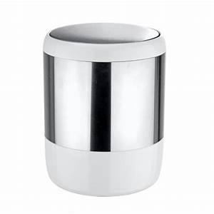 Salle De Bain Loft : poubelle de salle de bain inox et blanc accessoires ~ Dailycaller-alerts.com Idées de Décoration