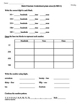 2 nbt 1 place value 2nd grade common core math worksheets 1st 9 weeks