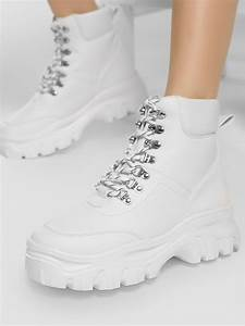 Buy Truffle Collection White Chunky Sole Hiking Boots For