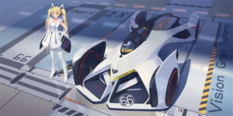 wallpaper anime girl blonde twintails supercar dress