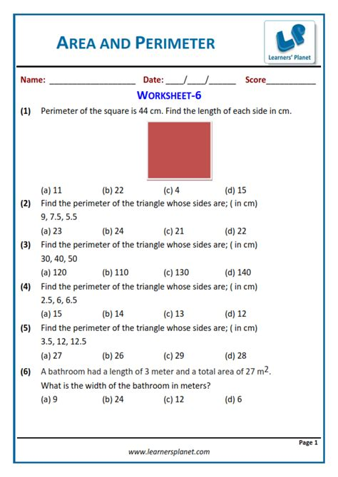 area  perimeter class  math worksheets