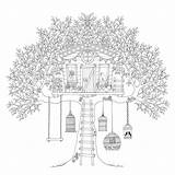 Coloring Treehouse sketch template