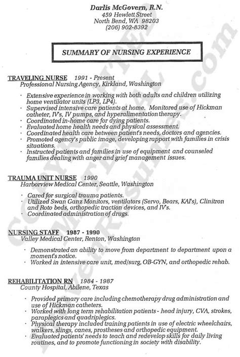 resume registered resume service nurses