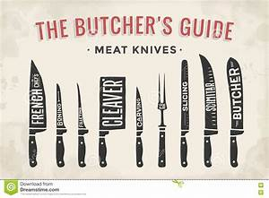 Meat Cutting Knives Set  Poster Butcher Diagram And Scheme Stock Vector