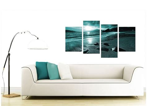 Canvas Prints For Living Room : Canvas Art Of Sunset In Teal For Your Living Room