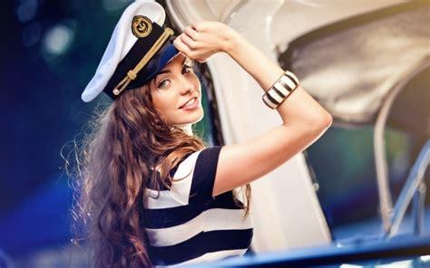Download 600x1024 Women, Brunette, Smiling, Sailor Hat