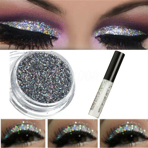 sparkly makeup glitter loose powder silver eyeshadow