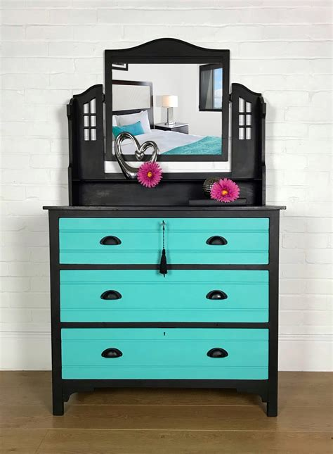 black and turquoise dressing table chest of drawers with