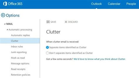 Office 365 Mail Going To Clutter by Microsoft Unveils De Cluttering Option For Office 365