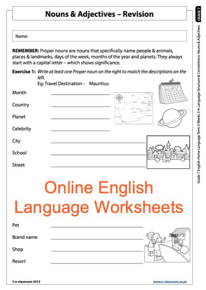 grade 7 online english language worksheets nouns and adjectives for more worksheets visit